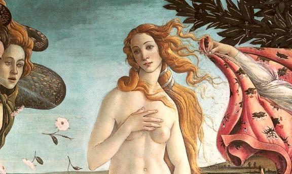 A close up of Botticelli's Venus