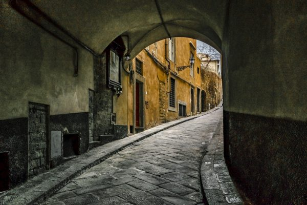 beautiful little street in Florence, an evening walk