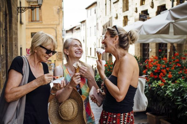 ladies enjoying icecream during Florence Food tour