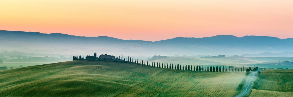 hills of tuscany in the mist