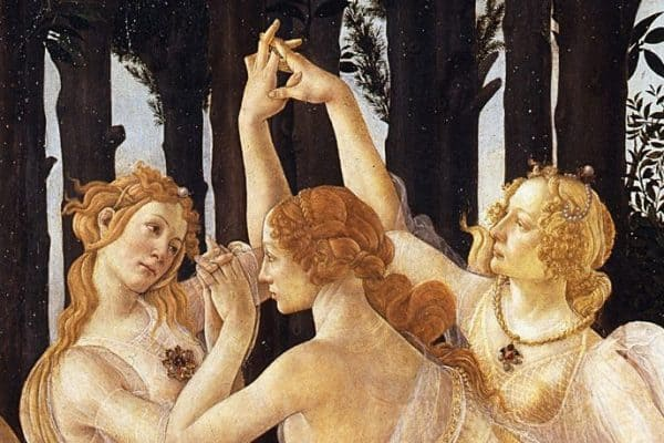 Detail of Botticelli's spring you will see during the early visit to uffizi gallery in Florence