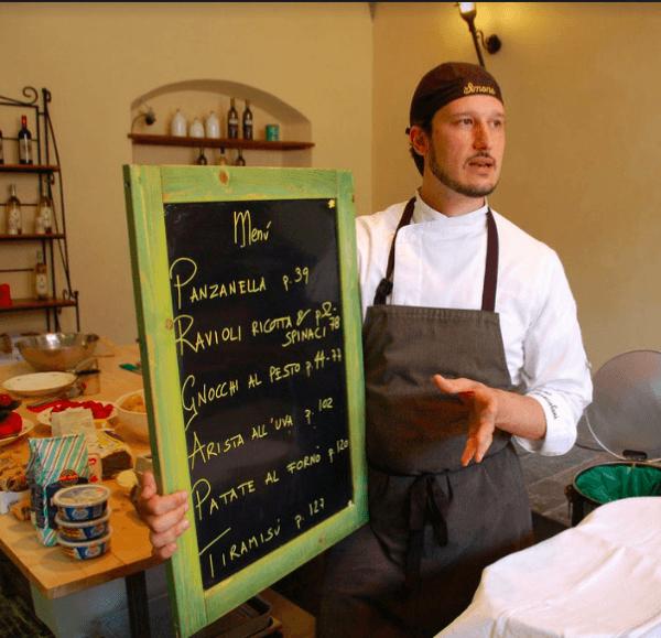A chef explaining the menu