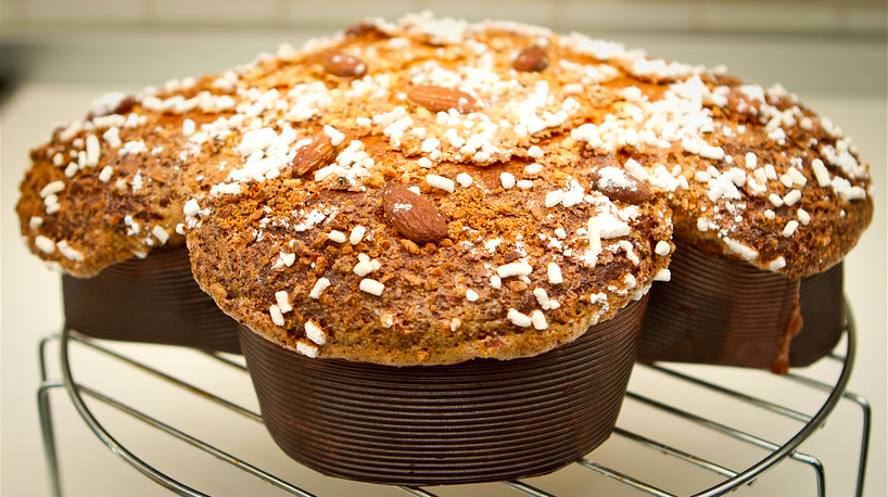 colomba di pasqua topped with almonds