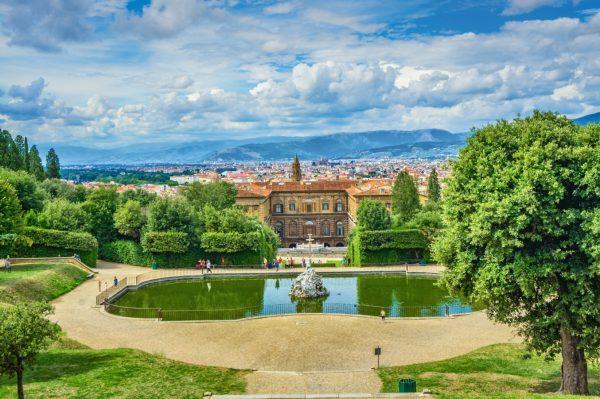 view of palazzo pitti in the boboli gardens