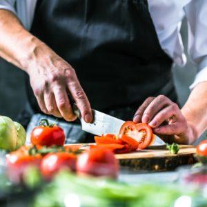 chef chops vegetables