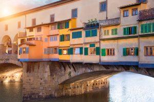 ponte vecchio bridge sunset